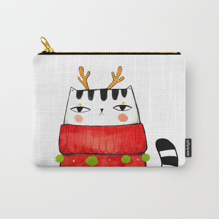 Winter kitty with antlers Carry-All Pouch