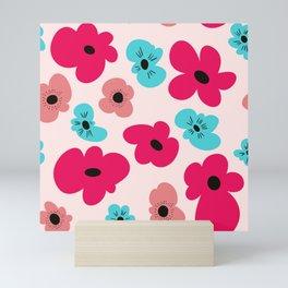 Funky poppies (pink background) Mini Art Print