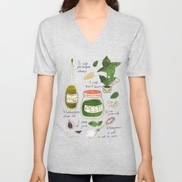 Pesto. Illustrated Recipe. Unisex V-Neck