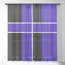 Team Colors 6...Blue,black Sheer Curtain