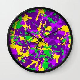 Mardi Gras Cajun Camo Wall Clock
