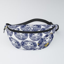 Daruma Dolls in Navy Blue with line doodles Fanny Pack