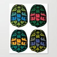 ninja turtles Canvas Prints featuring ninja shells by tama-durden