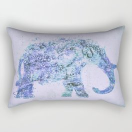 Blue Elephant Mixed Media Art Rectangular Pillow