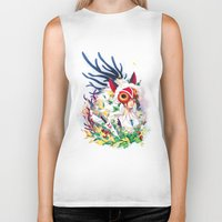 princess mononoke Biker Tanks featuring Princess Mononoke by Stephanie Kao