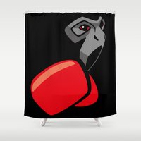 boxing Shower Curtains featuring Gibbon Boxing by rcmz