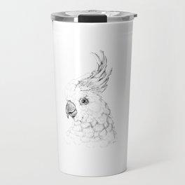 Sulphur Crested Cockatoo - Black and White Portrait Travel Mug