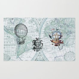 Hot Air Balloons on Antique Map - blue Rug