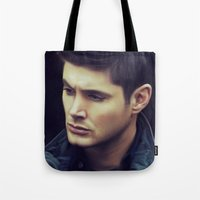 winchester Tote Bags featuring Dean Winchester by Kaye Pyle