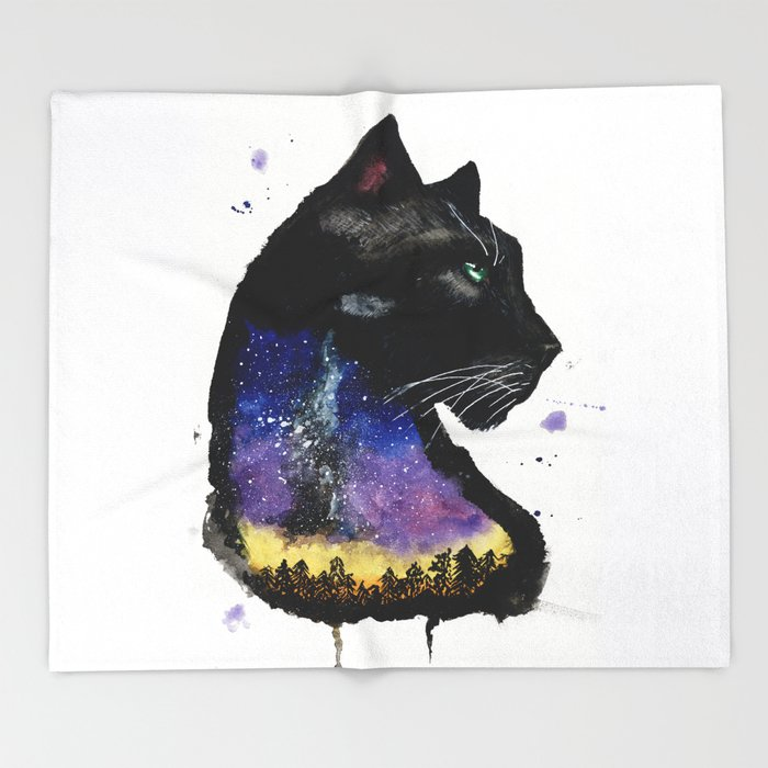 Galaxy Panther Throw Blanket