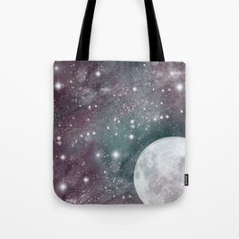 Cosmic Blue and Purple Sky with Moon  Tote Bag