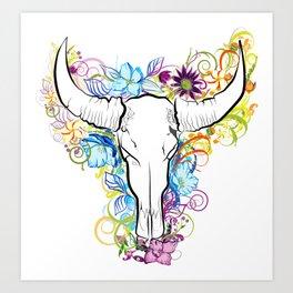Bull skull with flowers Art Print