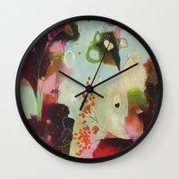 "flora bowley Wall Clocks featuring ""Deep Embrace"" Original Painting by Flora Bowley by Flora Bowley"