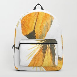 Canary Yellow Seamless Watercolour Feather Pattern Backpack