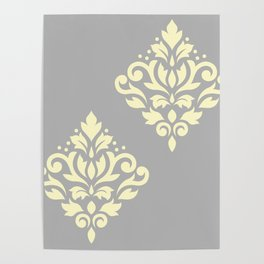 Scroll Damask Art I Yellow on Grey Poster