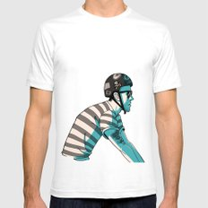 MIKE'S BIKE Mens Fitted Tee SMALL White