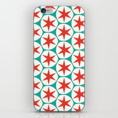Retro Red Stars Pattern iPhone Skin