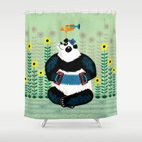 trumpet Shower Curtains featuring Panda Piazzolla and The Trumpet Bird by Oliver Lake