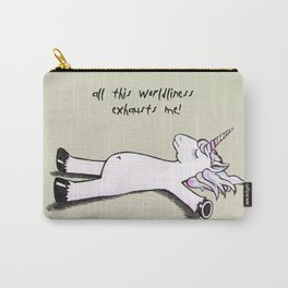 Exhausted Unicorn Carry-All Pouch
