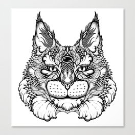 CAT maine coon  / LYNX head. psychedelic / zentangle style Canvas Print