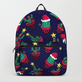 Cute Navy Decorated Cactus Tree Christmas Lights Backpack