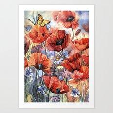 watercolor poppies Art Print