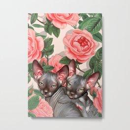 Sphynx among roses Metal Print
