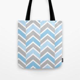 Blue Gray Chevron Tile Tote Bag