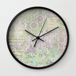 Shabby Chic Floral Collage - Lavender Wall Clock