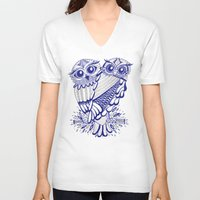 silver V-neck T-shirts featuring Owls – Silver & Navy by Cat Coquillette