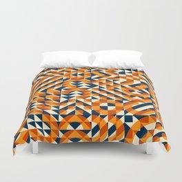 Orange Navy Color Overlay Irregular Geometric Blocks Square Quilt Pattern Duvet Cover