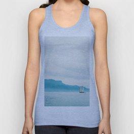 Modern Minimalist Landscape Ocean Pastel Blue Mountains With White Sail Boat Unisex Tank Top