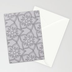 Silver gray lacey floral 2 Stationery Cards