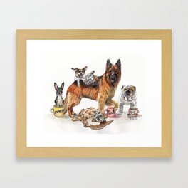 """Coffee Dogs"" funny coffee and dog artwork Framed Art Print"