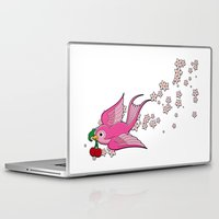swallow Laptop & iPad Skins featuring Pink Swallow by Jelly Roger