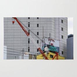 red crane on yellow Rug