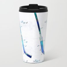 Blue Hockey Stick Art Patent - Sharon Cummings Metal Travel Mug