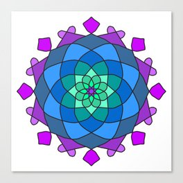 Mandala in blue and pink colors Canvas Print