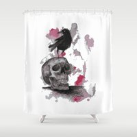 animal skull Shower Curtains featuring Skull by Deirdra Kelly