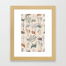 Origami Cranes (Cream) Framed Art Print