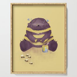 Bear imitating a bee * darkbrown with blue flower Serving Tray