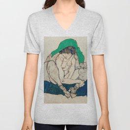 "Egon Schiele ""Crouching Woman with Green Headscarf"" Unisex V-Neck"