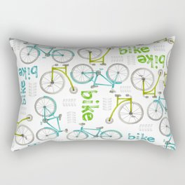 Watercolor Blue and Green Bikes Rectangular Pillow