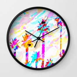 palm tree with colorful painting texture abstract background in pink blue yellow red Wall Clock
