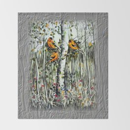 Gold Finches Throw Blanket