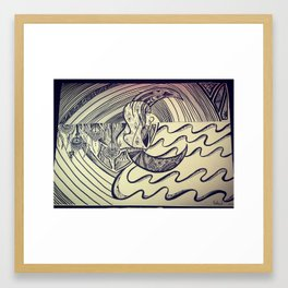 Woman in the moon Framed Art Print