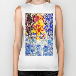 Abstract painting  - Sunset over The Sea Biker Tank