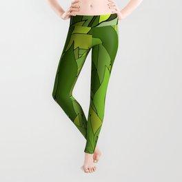 Green Bamboo Leaves Leggings