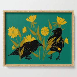 Ravens and Flowers Serving Tray