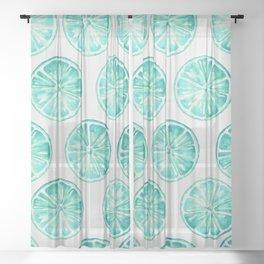 Turquoise Citrus Sheer Curtain